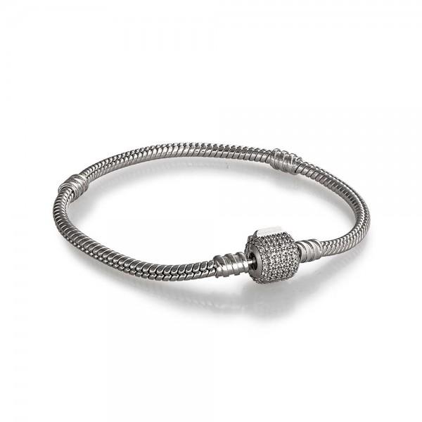 Браслет серебряный для шармов со стопперами и фианитами 5029.1