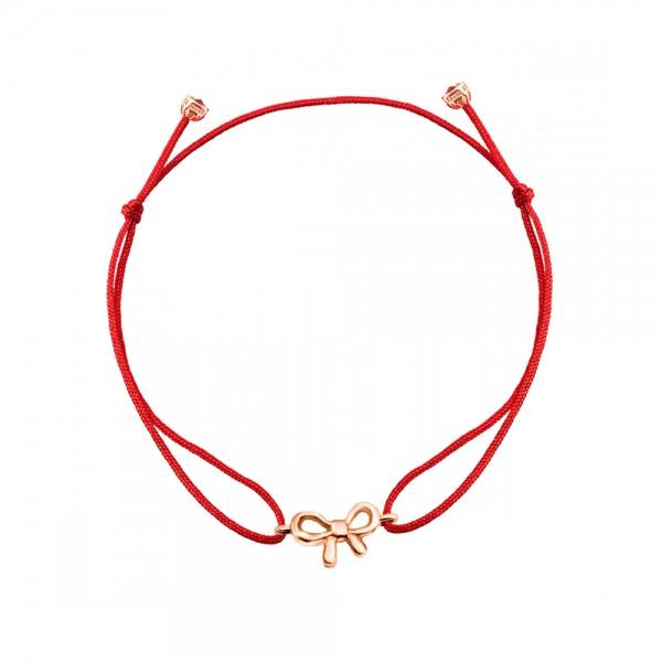 Браслет золотой с красной нитью Бантик 1БШ008