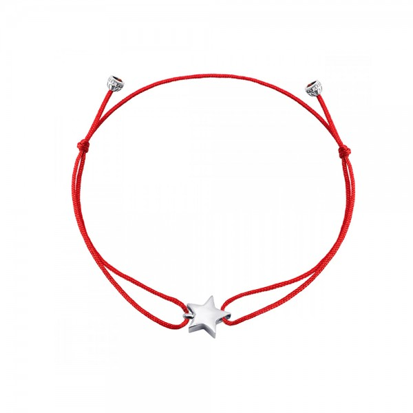 Браслет серебряный с красной нитью Звезда 2БШ013