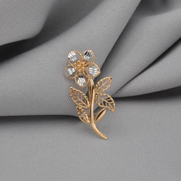 Брошка золотая Цветок 1А201262