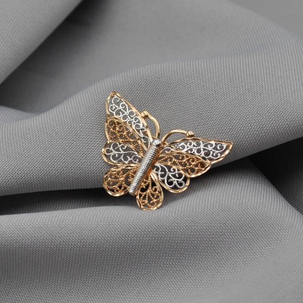 Брошка золотая Бабочка 1А501205