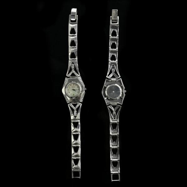 Часы серебряные с фианитами 2_№34