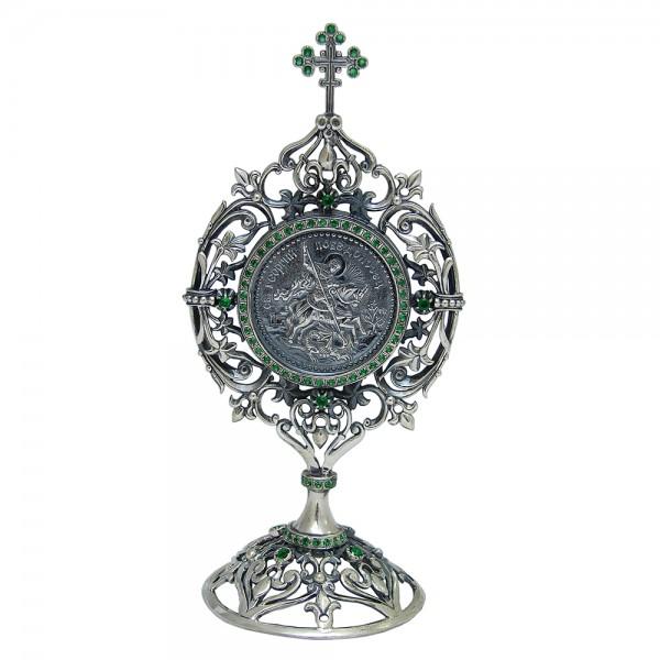 Икона серебряная с фианитами Георгий Победоносец 2_3ГеоргийПобЦв