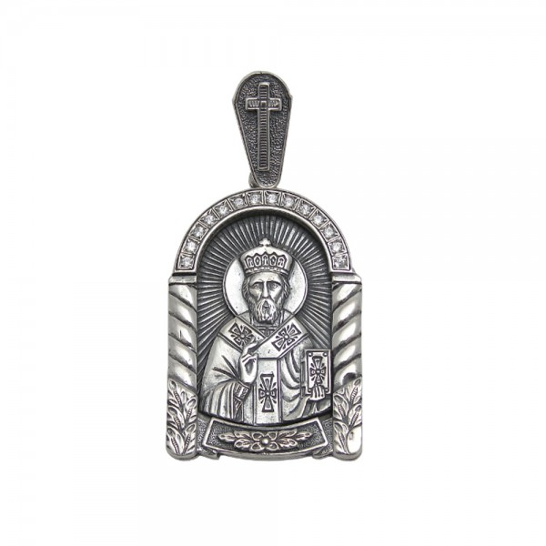 Ладанка серебряная с фианитами Святой Николай Чудотворец 2_Лад41