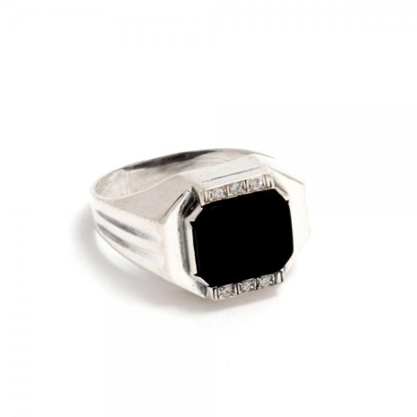 Перстень серебряный с ониксом и фианитами 2_Мартин