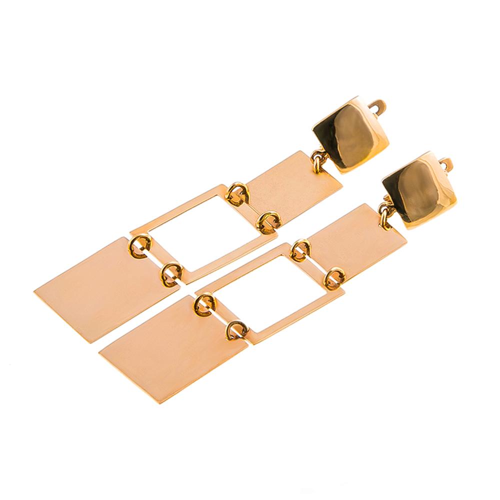 Серьги золотые длинные Квадраты 1С002