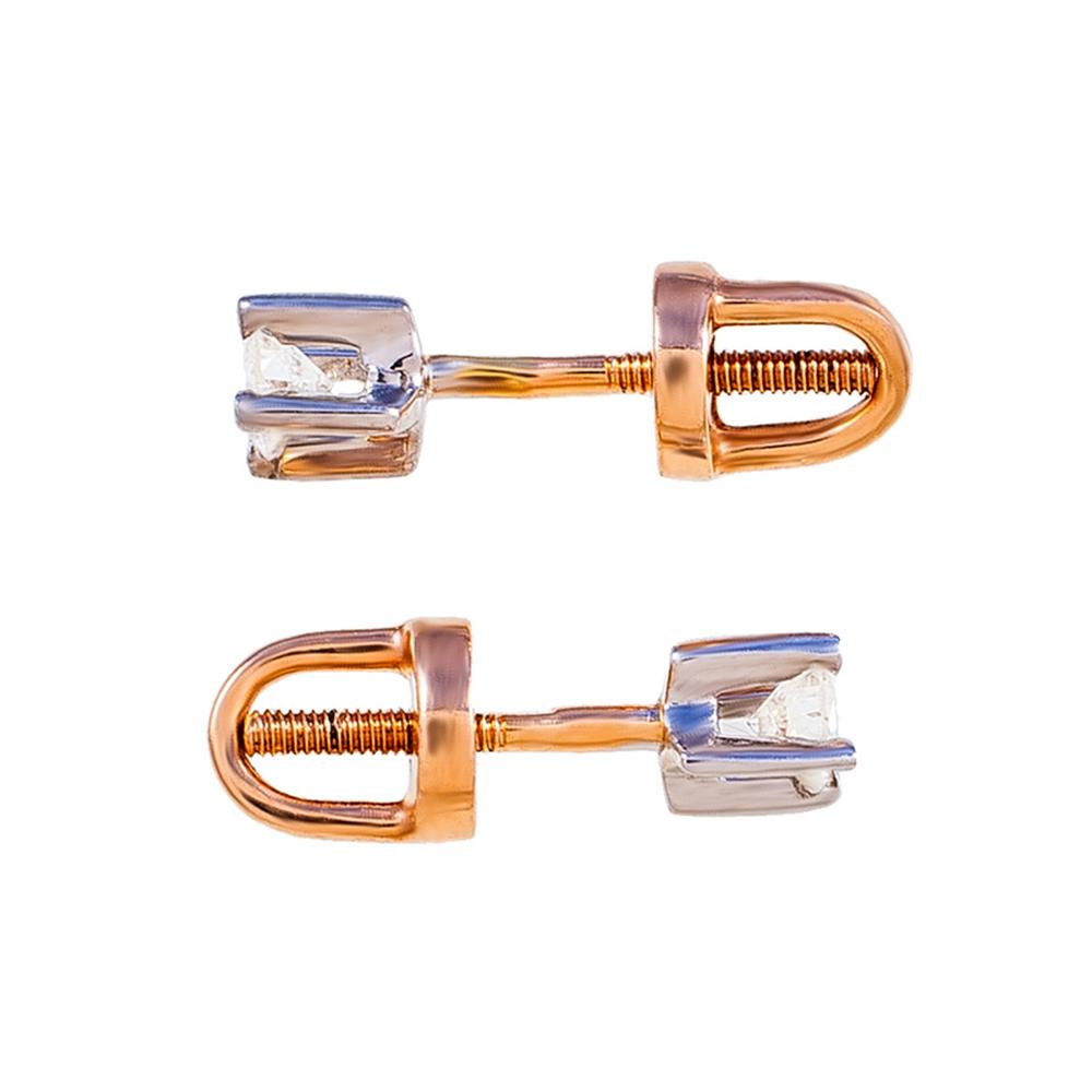 Серьги-пусеты золотые с бриллиантами 3С314/1д