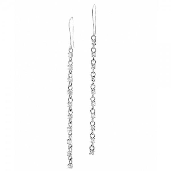 Серьги серебряные длинные с фианитами 2С022