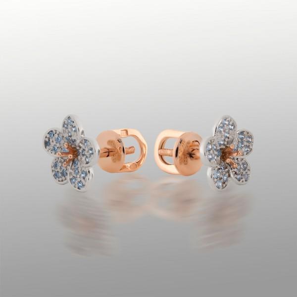 Серьги-пусеты (гвоздики) золотые с фианитами 103-1221