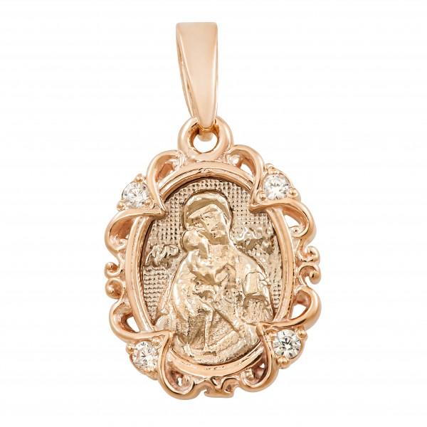 Ладанка золотая Богородица с фианитами 107-1047