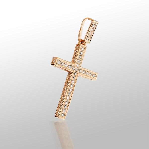Крестик золотой с фианитами 107-1063