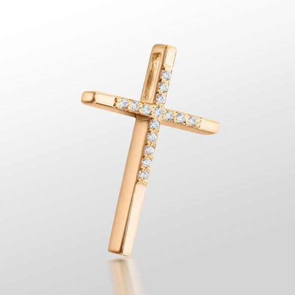 Крестик золотой с фианитами 107-1064