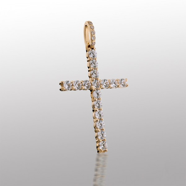 Крестик золотой с фианитами 107-1072