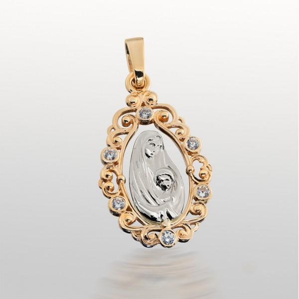 Ладанка золотая Богородица с фианитами 107-1073