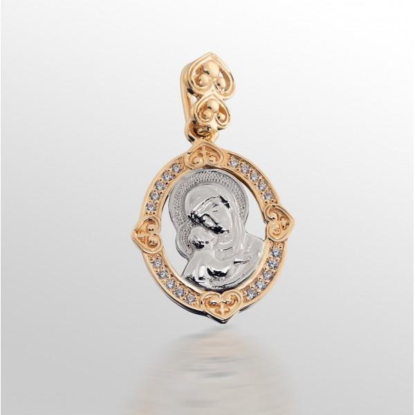 Ладанка золотая Богородица с фианитами 107-1074