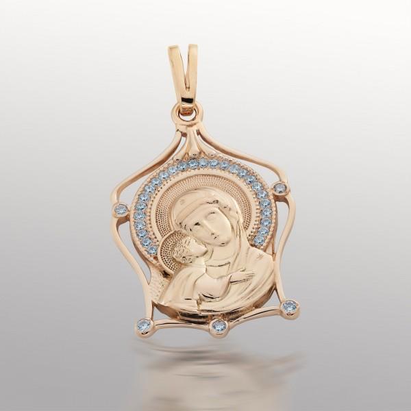 Ладанка золотая Богородица с фианитами 107-1082