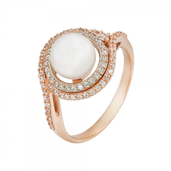 Кольцо золотое с жемчугом и фианитами 102-0126