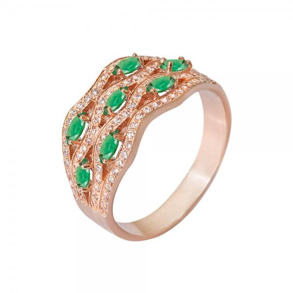 Кольцо золотое с изумрудами и фианитами 102-0154См