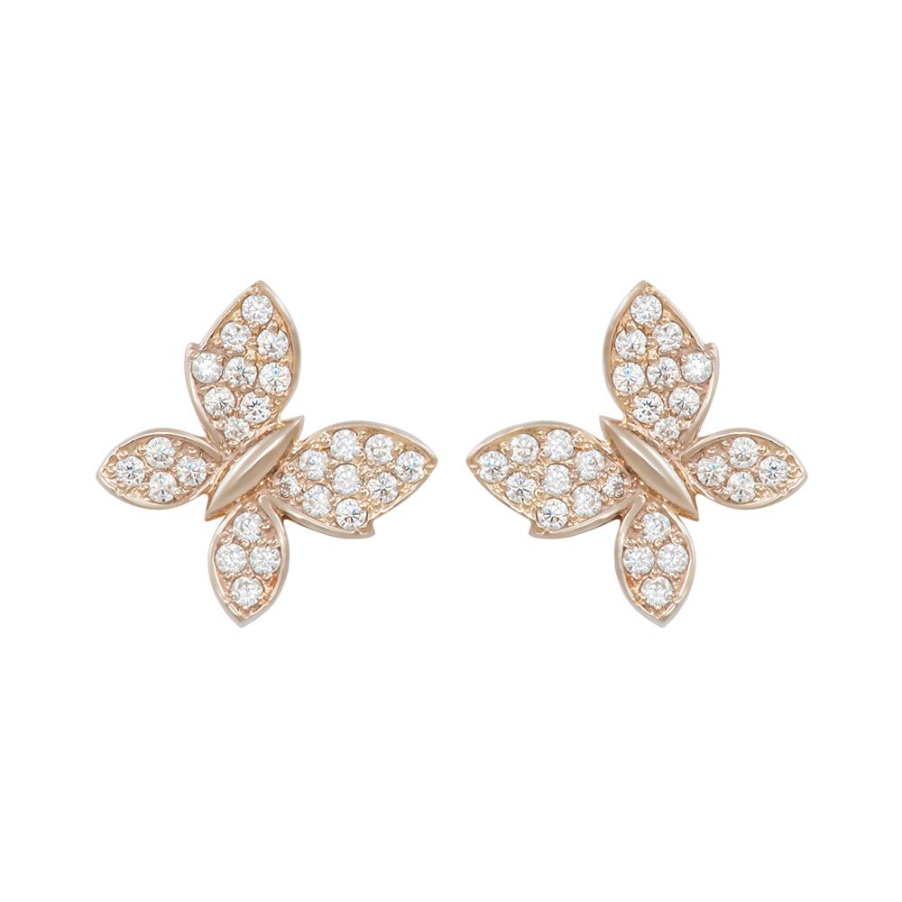 Серьги золотые Бабочки с фианитами 103-0065