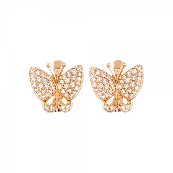 Серьги золотые Бабочки с фианитами 103-0155