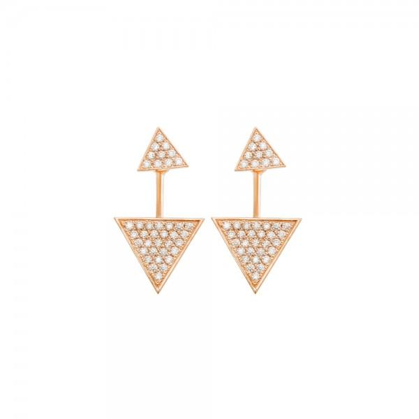 Серьги-джекеты золотые с фианитами 103-0255