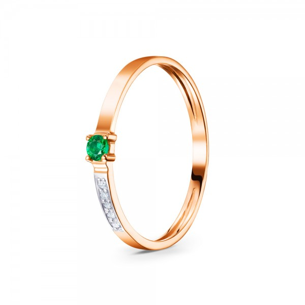 Кольцо золотое с изумрудом и бриллиантами 3К100084См