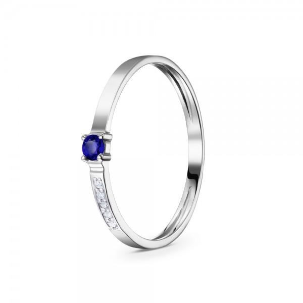 Кольцо золотое с сапфиром и бриллиантами 3К100084Спб