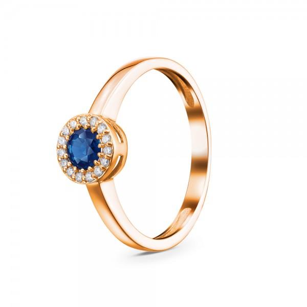 Кольцо золотое с сапфиром и бриллиантами 3К1124Сп