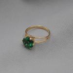 Кольцо золотое с зеленым кварцем 1К029КЗ