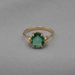 Кольцо золотое с зеленым кварцем 1К059КЗТ