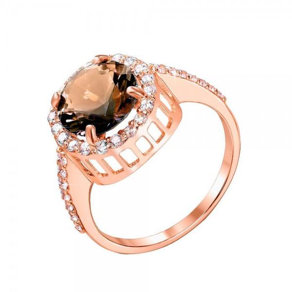 Кольцо золотое с дымчатым кварцем и фианитами К203КД