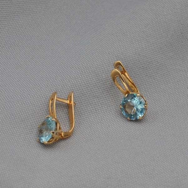 Серьги золотые с голубым топазом 1С030ГТ