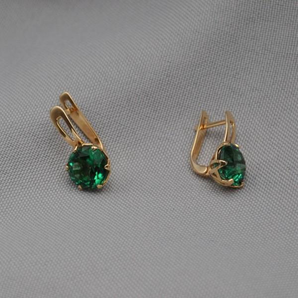 Серьги золотые с зеленым кварцем 1С030К3