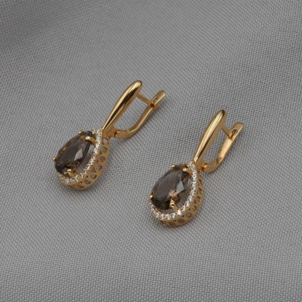 Серьги золотые с дымчатым кварцем и фианитами 1С056КД
