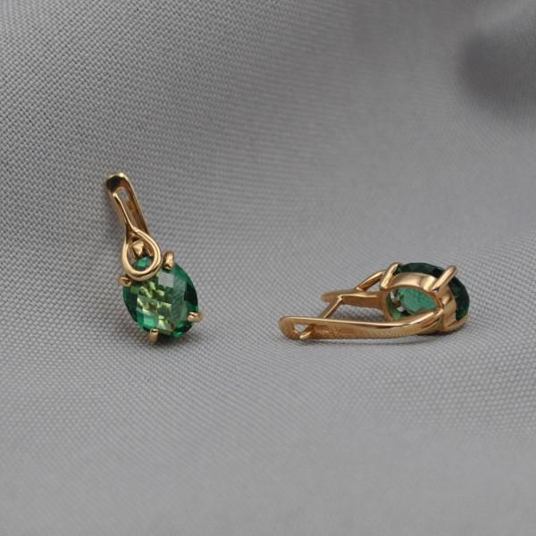 Серьги золотые с зеленым кварцем 1С060КЗТ