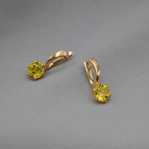 Серьги золотые с желтым сапфиром 1С229СЖ