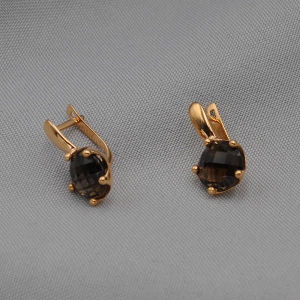 Серьги золотые с дымчатым кварцем 1С245КвД