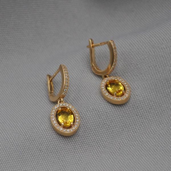 Серьги золотые с цитрином и фианитами 1С253Ц