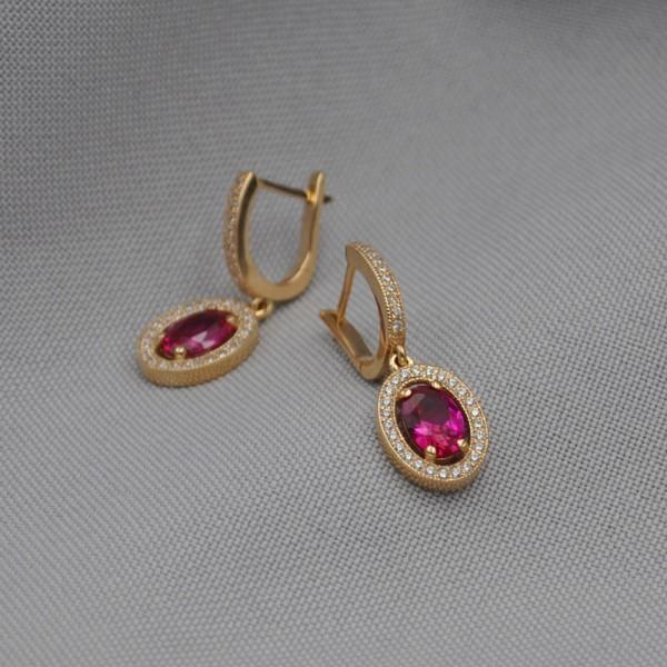Серьги золотые с рубином и фианитами 1С253Р