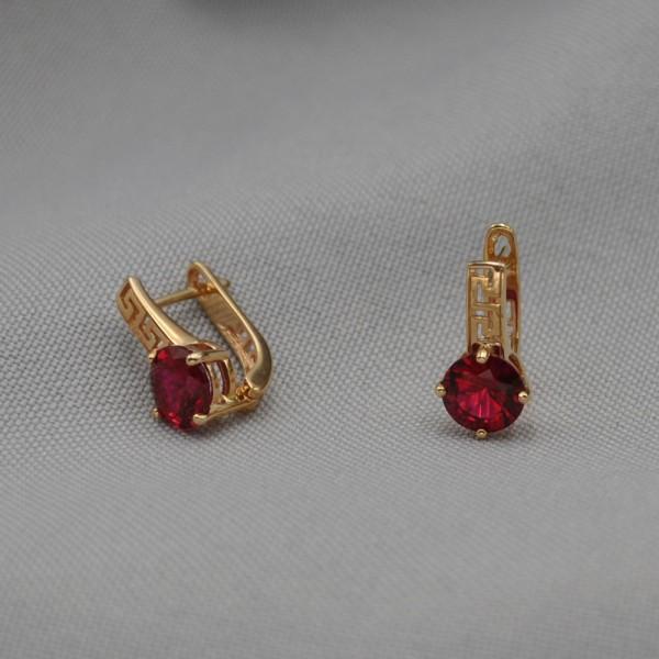Серьги золотые с рубином 1С258Р