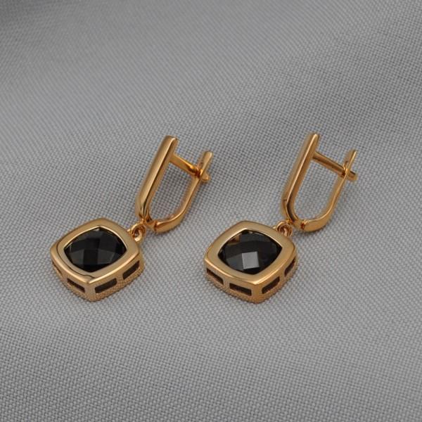 Серьги золотые с дымчатым кварцем 1С329КвД