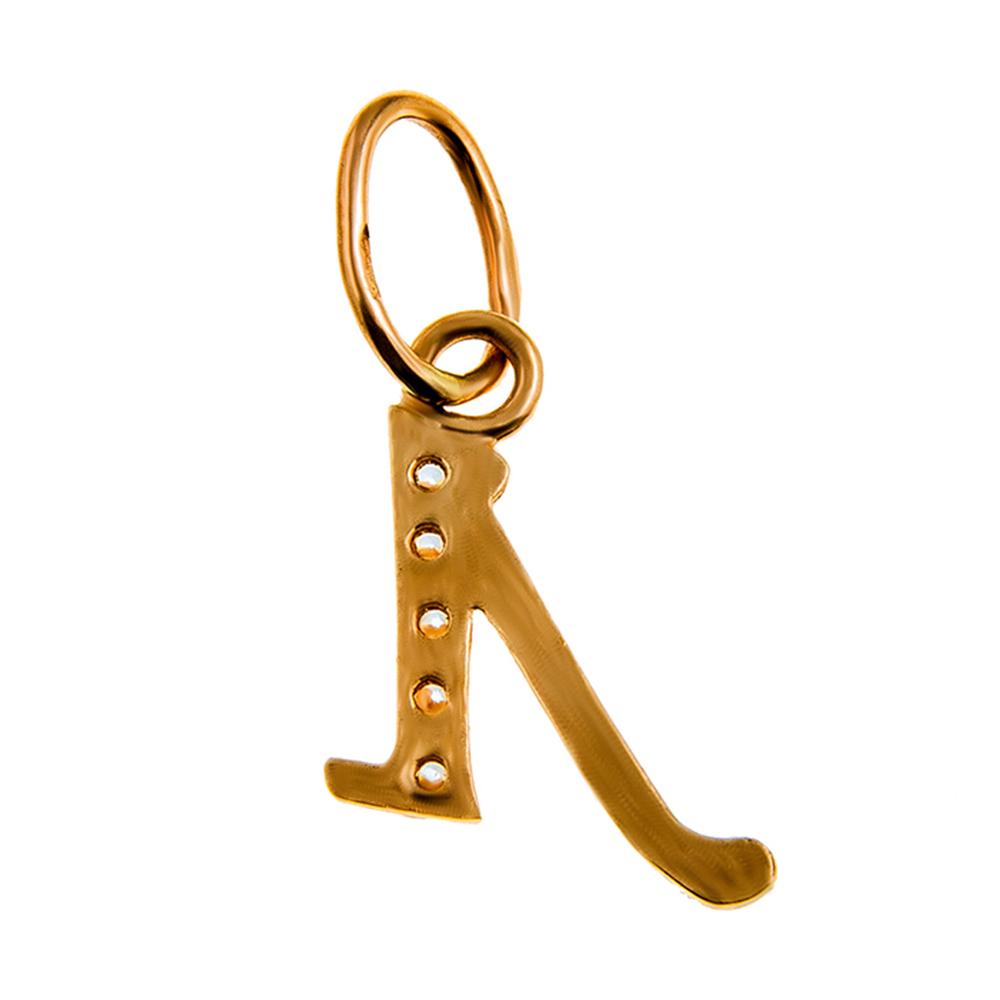 Подвеска золотая с фианитами буква «Л» 1П015б Л