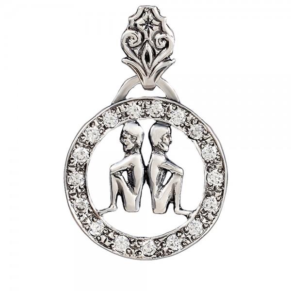 Подвеска серебряная Знак Зодиака Близнецы с фианитами 2П008зчБ