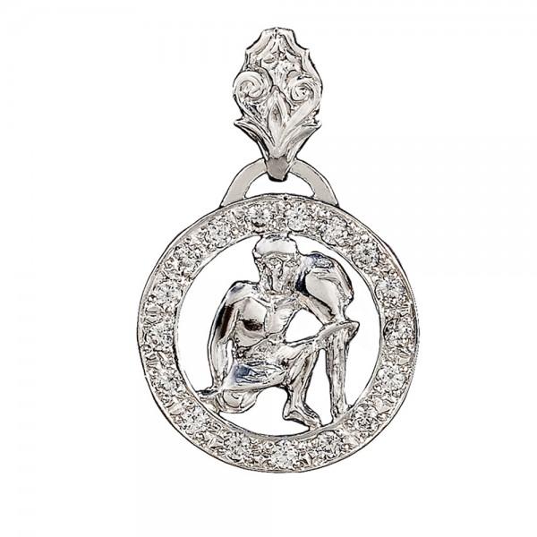 Подвеска серебряная Знак Зодиака Водолей с фианитами 2П008зВод