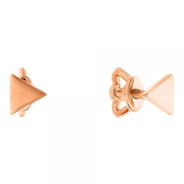 Серьги-пусеты (гвоздики) из красного золота Геометрия 1с224/00б