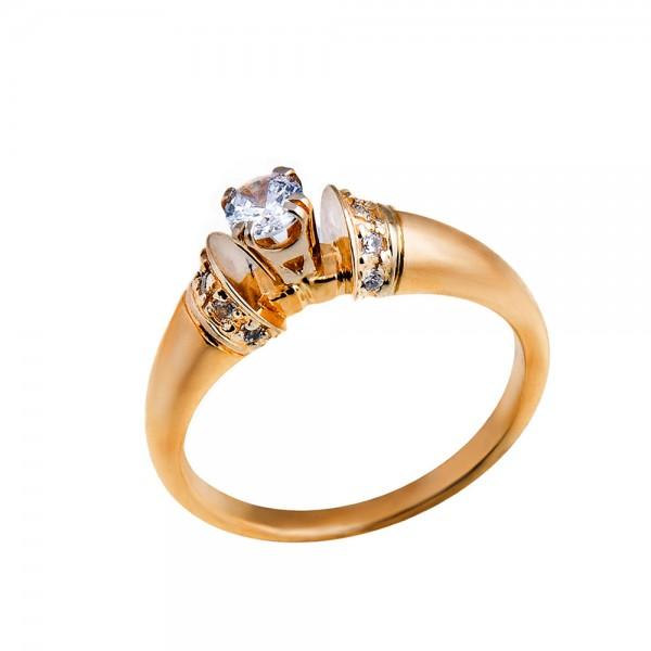 Кольцо золотое c фианитом 1К004