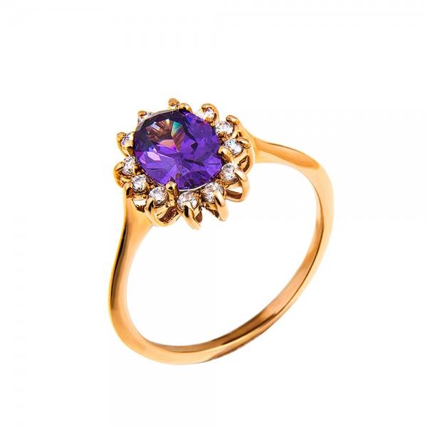 Кольцо золотое с фианитами 1К005Ам