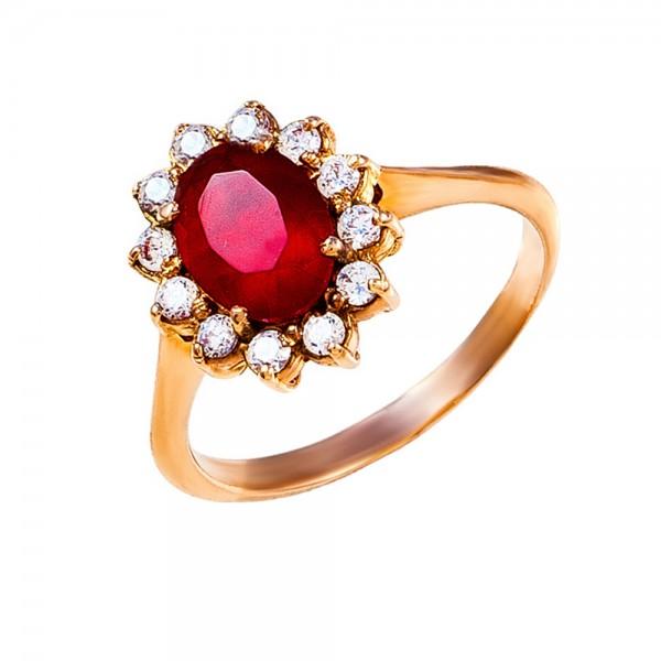 Кольцо золотое с фианитами 1К005Рб
