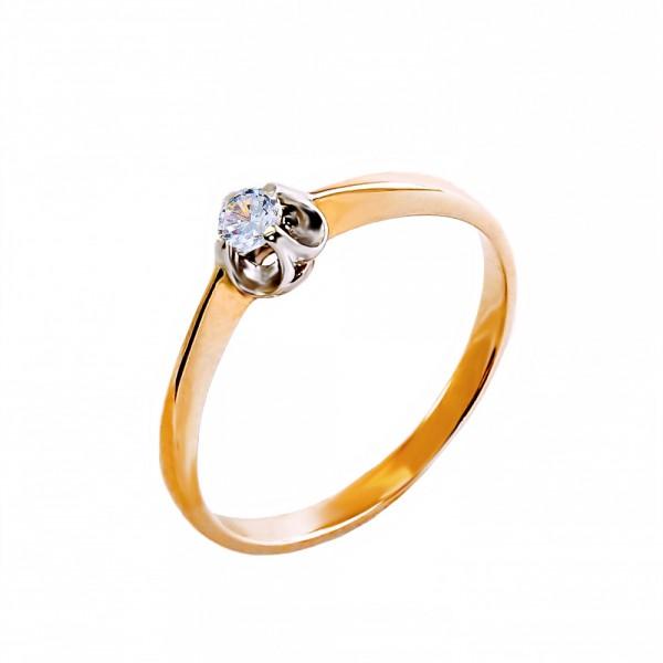 Кольцо золотое с бриллиантом 3К017д