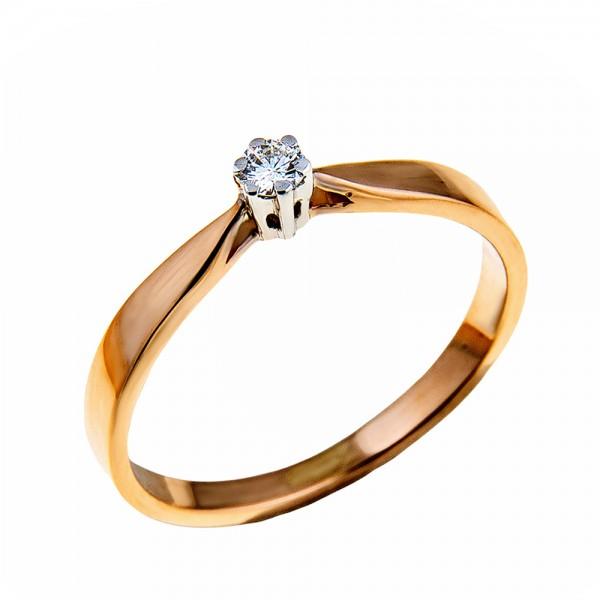 Кольцо золотое с бриллиантом 3К052д